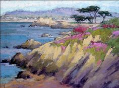 """Lovers Point"" Looking North to Lovers Point, Carmel by Terri Ford pastel painting"