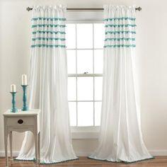 Abrianna Boho Teal Pom Pom Window Curtain Panel SET