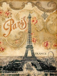 This print inspired by the Eiffel Tower and Paris combines the magic of the city with a romantic vintage wallpaper from the turn of the century. Even the typeface is an Art Nouveau design still found all over Paris even today. Vintage Paris, Vintage Roses, Tour Eiffel, Paris Eiffel Tower, Retro Poster, Vintage Travel Posters, Vintage Postcards, Paris Kunst, Paris Art