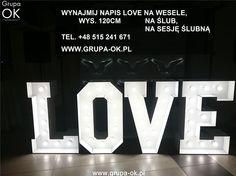 Napis LOVE na wesele, sesje ślubne, zaręczyny, wesela, idealna dekoracja sali.