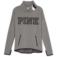 PINK Stretch Fleece Mock Neck ($60) ❤ liked on Polyvore featuring tops, pattern tops, stretch tops, pink top, graphic tops and mock neck top