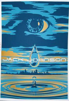 Original silkscreen concert poster for Jack Johnson at the Susquehanna Bank in Camden, NJ. 17 x 24 3 color silkscreen by artist Todd Slater. Fine Art Posters, Rock Posters, Band Posters, Concert Posters, Music Posters, Jack Johnson Music, I Love It Loud, Hipster Decor, Rogue Wave