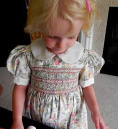 Sewing Stash Challenge (and now my knitting stash too): Smocked dress ... again.