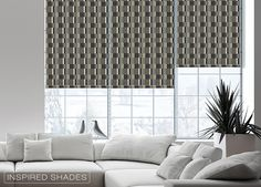 Modern patterned roller shades are available in blackout fabrics so you can maintain privacy.