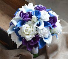 Rustic Bridal Bouquets, Silk Bridal Bouquet, Silk Wedding Bouquets, Purple Wedding Flowers, Prom Flowers, Lilac Wedding, Wedding Beach, All Flowers, Pretty Flowers