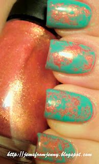Paint your nails with a base color and let them dry completely. Then, come back and paint a layer of another color on top, and before it dries, you dab pieces of waddedup saran wrap on top lightly, then top coat.