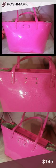 Kate Spade Neon Pink Patent Leather Tote purse Brand new with tags   Large Tote Neon pink Patent leather Kate spade logo all over  Zip top 2 shoulder straps kate spade Bags Totes