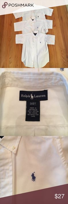 Boys Ralph Lauren Short Sleeve Button Down 3 gorgeous Ralph Lauren Button Downs, worn once! Perfect condition. Sizes: 2T(light blue logo)  4T(light blue logo), 7(navy blue logo and front pocket). Will sell separately if wanted! Ralph Lauren Shirts & Tops Button Down Shirts