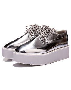 Silver Square Toe Lace Up Flats 36.67