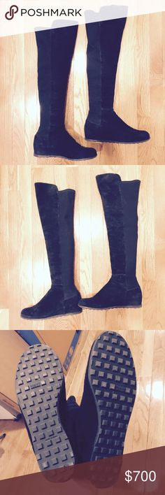 Stuart Weitzman 5050 black suede wedge boots Stuart Weitzman 5050 black suede wedge boots. Excellent Preowned condition. Worn 2 times. Hidden wedge heel. Very sexy boots. And super comfy. Size 10. Message me if you would like more images or have questions! Thank you for looking! 🙂 Stuart Weitzman Shoes Over the Knee Boots