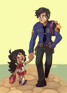 """Happy Father's Day, dadwing Also it's day 1 of robstar week and today's theme is """"parents"""" lmao perfect timing so here's dadwing taking Mar'i, under hologram, to human school since they'd both leave the house early."""