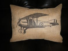 Vintage Airplane Print Burlap Pillow Aviation Accent Pilot decor #munire #pinparty #MadeintheUSA