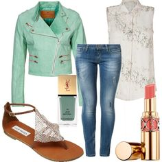 Mint leather jacket and denim