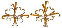 Gilded Tole Wall Sconces, Pair