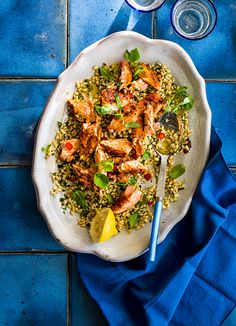 Supergrain salmon salad with chilli and mint dressing - get into the new superfood revolution with this healthy combination of grilled salmon, farro or freekeh, harissa and herbs all mixed together in a spicy main course salad. Salmon Salad Recipes, Healthy Salad Recipes, Fish Recipes, Lunch Recipes, Seafood Recipes, Healthy Dinner Recipes, Cooking Recipes, Recipies, Healthy Food List