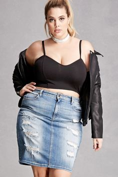Forever 21+ - A denim mini skirt featuring a whiskered wash, distressed patches along the front, a five-pocket construction, and a buttoned zip fly. This is an independent brand and not a Forever 21 branded item.