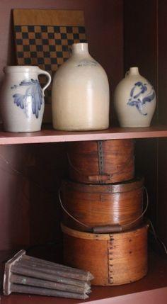 Pantry boxes and jugs Antique Crocks, Antique Stoneware, Primitive Antiques, Primitive Decor, Prim Decor, Country Decor, Country Style, Wooden Containers, Wall Boxes
