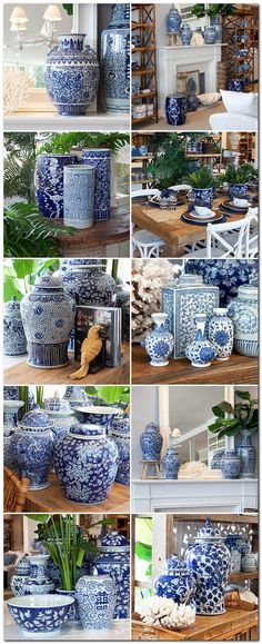 Blue and white dynasty ginger jars. This is my passion. I never have too many blue and white ginger jars~💕 Blue And White China, Blue China, Blue Green, Urban Deco, Home Design, Interior Design, Diy Interior, Design Design, Blue Pottery