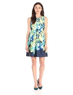 Vince Camuto Womens Pleated Sleeveless Fit and Flare Dress Print 12 -- Learn more by visiting the image link.