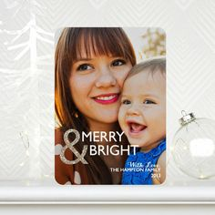 'Glamorous Ampersand' Flat #Holiday Photo Card makes your favorite image the star of this design. The added glitz adds to this chic card.