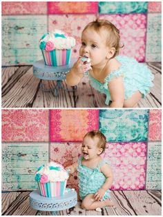 Shabby chic cake smash in teal and pink... Vancouver Cake Smash Photographer