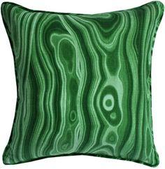 Malakos, Malachite Decorative Throw pillow with flat piping