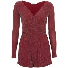 **Long Sleeve Playsuit by Oh My Love ($17) ❤ liked on Polyvore featuring jumpsuits, rompers, vestidos, burgundy, red rompers, metallic romper, burgundy romper, long-sleeve rompers and playsuit romper