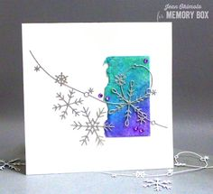 MemoryBox2017HolidayCollection-MemoryBoxPiccoloSnowflakes-MemoryBoxSnowflakeWire-MemoryBoxRectangleBasics-JeanOkimoto-RangerDistressOxides-WatercoloredCards-WatercoloredHolidayCards-SnowflakeCards-ShizenDesign-DeckledWatercolorPaper-GlitterCardstock-ImpressCardsAndCrafts