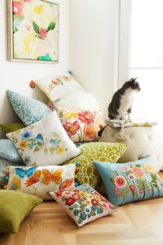 If you love spring, but you consider yourself more of an indoor cat, then you can bring the colors of spring inside with Pier 1's fresh, bright Field of Flowers Pillow Collection.