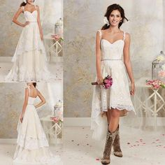 Lace Country Wedding Dresses With Detachable Train High Low Short Bridal Dress Gown Floor Length Multi Layers Garden Bohemian Wedding Gowns Lace Wedding Dresses High Low Short Bridal Gowns Bohemian Wedding Gowns Online with 188.8/Piece on Angellove_dresses's Store | DHgate.com