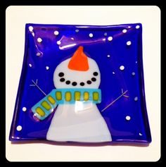 Snowman Fused Glass Plate.