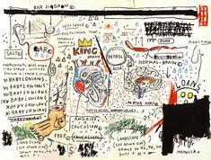 King Brand, Jean-Michel Basquiat Medium: acrylic,charcoal,crayon,pastel,pencil Jean Basquiat, Jean Michel Basquiat Art, Sgraffito, Carnaval Kids, Expressionist Artists, Arte Pop, Keith Haring, American Artists, Screen Printing