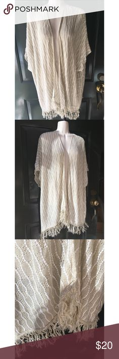 ✨ Beige fringe boho shawl cardigan soft sweater - Beige fringe shawl boho cardigan soft sweater - Awesome beige and fringe lightweight bohemian cardigan - I absolutely love this piece and am only selling because I realized I have like 3 of the same pieces lol!  - In new condition, barely worn  - Color is beige + off white, very soft lightweight material  - Perfect Oversized/ long cardigan - Brand: Deb  - Size: 1x/2x but fits M-2X, I'm an average size L and love how this fits on me  *20% off…