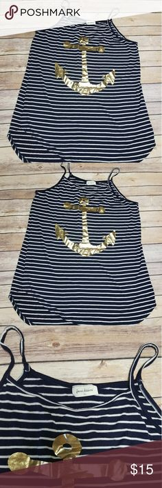 Navy Striped Anchor Tank Top Blue and white striped tank top with gold anchor on the front. NWOT Free Kisses Tops Tank Tops