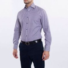 The perfect button down by Thomas Dean has the qualities of a dress shirt & sport shirt all in one! The gingham tailored fit sport shirt in purple looks like a well tailored button down while still comfortable for all day wear.  (at By Request)