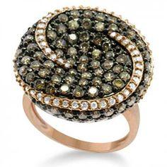 Circle Swirl Champagne & White Diamond Ring 14k Rose Gold (2.85ct)
