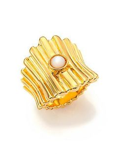 Lizzie Fortunato Ridged Mother-Of-Pearl Ring - Gold