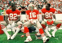 The Legends - John Taylor, Joe Montana, Jerry Rice - My favorite trio. 49ers Players, Nfl Football Players, Football Moms, School Football, Nfl 49ers, 49ers Fans, Niners Girl, Americana Retro, 49ers Nation