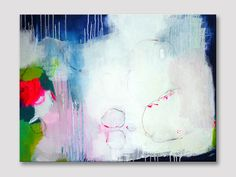 Abstract painting, abstract art, large painting, modern art, acrylic painting, pink lemon green white dark blue painting, original painting