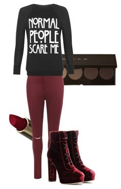 """Maroon"" by the-minky on Polyvore featuring WearAll and Jimmy Choo"