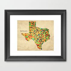 Map of Texas Counties - Vintage Retro Polygonal Style Framed Art Print $32