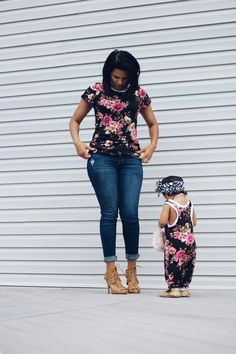 Matching Mom and Daughter Outfit - Flower Romper and Shirt