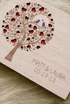 Custom Wedding guest book wood rustic wedding guest book album bridal shower engagement anniversary- Cutie Pop. $42.00, via Etsy.