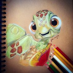 Disney Drawing. Squirt Artwork from finding nemo. Using prismacolor crayons.