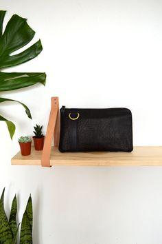 Shrunken Black Leather Cross-body Wallet Convertible by ARTandJILL