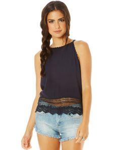 High Neck Crochet Singlet, Blue