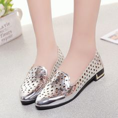 Women's #silver leather low heel shoe #loafer hollow out design, Slip on style, Low cut, Point toe, thick heel, casual, leisure, party events, summer occasions