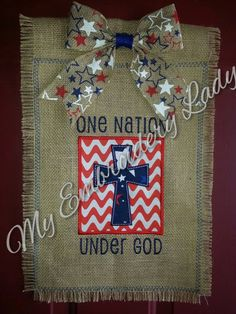 Burlap Embroidered and Applique Garden Flag - One Nation Under God by MyEmbroideryLady on Etsy