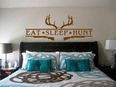 Here is one for the hunters out there. Had a customer ask me to make something special for her husband's trophy room. This is what she got. This decal features a very nice rack and the top of a skull. Under that you will see the main things in any hunter's life, Eat Sleep Hunt, separated by nice big Buck hoof prints. To round out the design you'll also see two shotguns ready to do the deed. See it and more here!