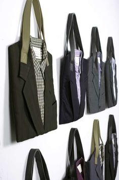recycled suit tote bags